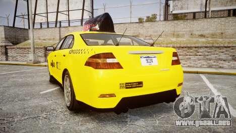 GTA V Vapid Taurus Taxi LCC para GTA 4 Vista posterior izquierda