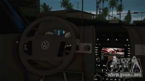 Volkswagen Touareg 2012 para GTA San Andreas vista posterior izquierda