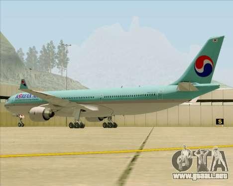 Airbus A330-300 Korean Air para GTA San Andreas vista hacia atrás