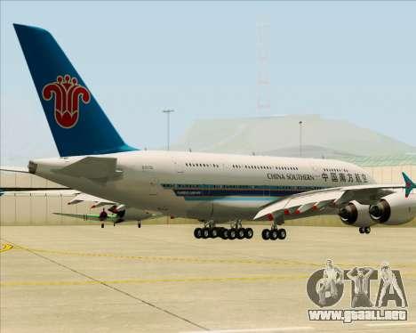 Airbus A380-841 China Southern Airlines para GTA San Andreas vista posterior izquierda