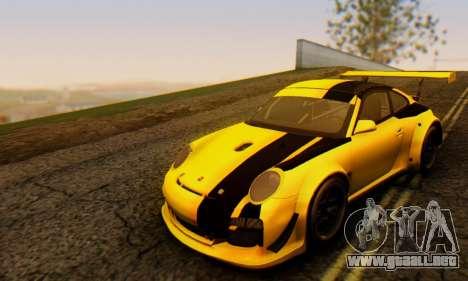 Porsche 911 GT3 R 2009 Black Yellow para GTA San Andreas left
