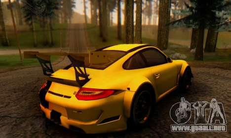 Porsche 911 GT3 R 2009 Black Yellow para GTA San Andreas vista posterior izquierda