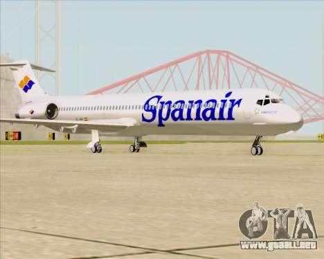 McDonnell Douglas MD-82 Spanair para GTA San Andreas vista posterior izquierda
