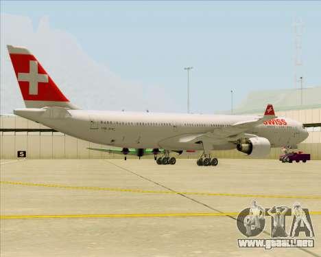 Airbus A330-300 Swiss International Air Lines para GTA San Andreas vista posterior izquierda