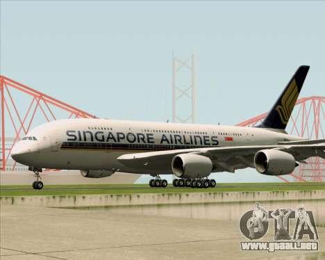 Airbus A380-841 Singapore Airlines para GTA San Andreas vista hacia atrás