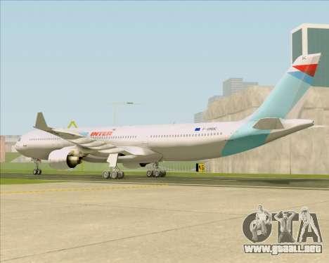 Airbus A330-300 Air Inter para GTA San Andreas vista posterior izquierda