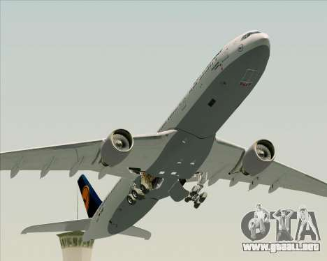 Airbus A330-300 Lufthansa para vista inferior GTA San Andreas