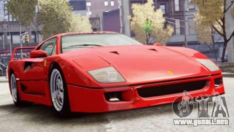 Ferrari F40 1987 para GTA 4 Vista posterior izquierda