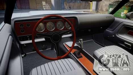 Dodge Challenger 1971 v2.2 PJ9 para GTA 4 vista hacia atrás