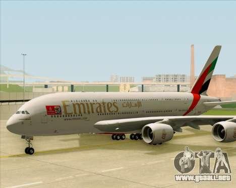 Airbus A380-841 Emirates para GTA San Andreas vista posterior izquierda