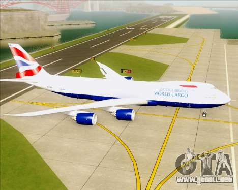 Boeing 747-8 Cargo British Airways World Cargo para GTA San Andreas vista posterior izquierda