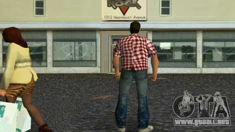 Kockas polo - piros T-Shirt para GTA Vice City segunda pantalla