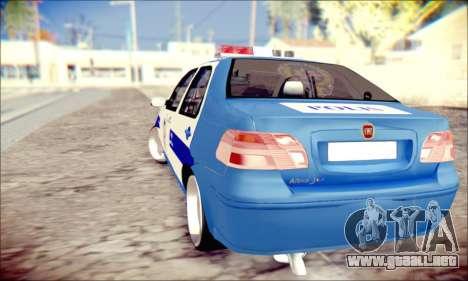 Fiat Albea Police Turkish para GTA San Andreas vista posterior izquierda