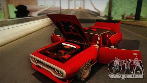 Plymouth GTX Tuned 1972 v2.3 para visión interna GTA San Andreas