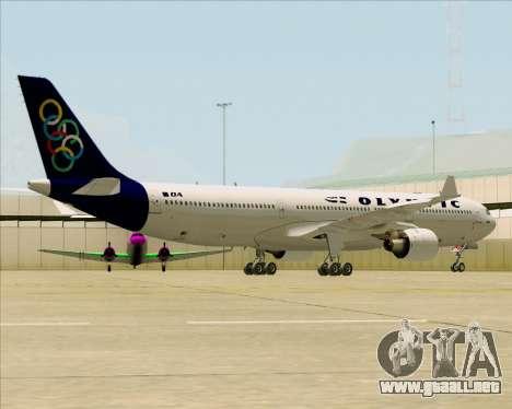 Airbus A330-300 Olympic Airlines para GTA San Andreas vista posterior izquierda