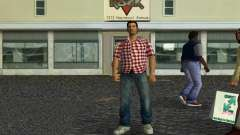 Kockas polo - piros T-Shirt para GTA Vice City