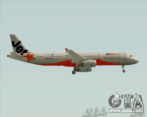 Airbus A321-200 Jetstar Airways para vista lateral GTA San Andreas