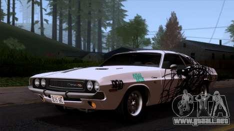 Dodge Challenger 426 Hemi (JS23) 1970 (ImVehFt) para vista inferior GTA San Andreas