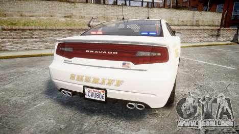 GTA V Bravado Buffalo LS Sheriff White [ELS] Sli para GTA 4 Vista posterior izquierda