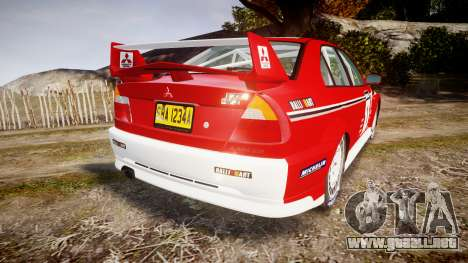 Mitsubishi Lancer Evolution VI 2000 Rally para GTA 4 Vista posterior izquierda