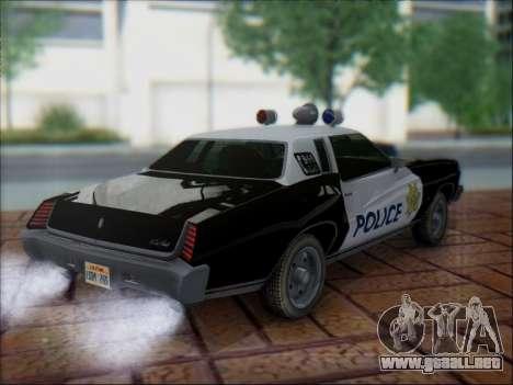 Chevrolet Monte Carlo 1973 Police para GTA San Andreas vista hacia atrás