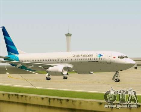 Boeing 737-800 Garuda Indonesia para GTA San Andreas vista hacia atrás