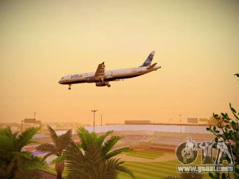 Airbus A321-232 jetBlue La vie en Blue para la vista superior GTA San Andreas