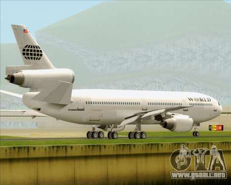 McDonnell Douglas DC-10-30 World Airways para vista inferior GTA San Andreas