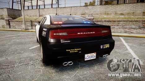 GTA V Bravado Buffalo LS Police [ELS] Slicktop para GTA 4 Vista posterior izquierda