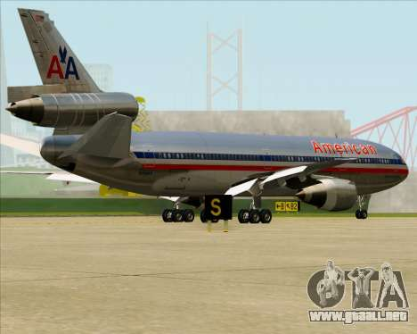 McDonnell Douglas DC-10-30 American Airlines para vista inferior GTA San Andreas