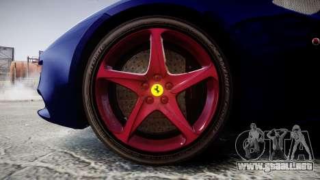 Ferrari FF 2012 Pininfarina Blue para GTA 4 vista hacia atrás