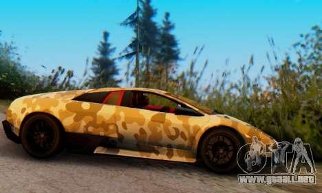 Lamborghini Murcielago Camo SV para GTA San Andreas vista posterior izquierda
