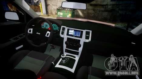 Jeep Grand Cherokee SRT8 rim lights para GTA 4 vista hacia atrás