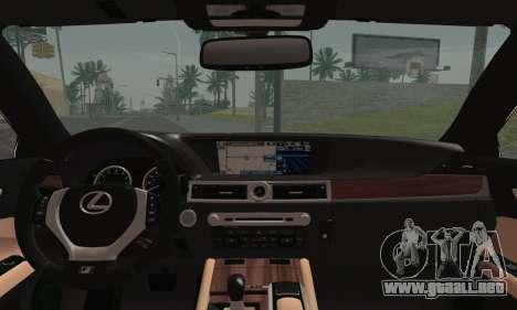 Lexus GS350 F Sport 2013 para GTA San Andreas vista posterior izquierda