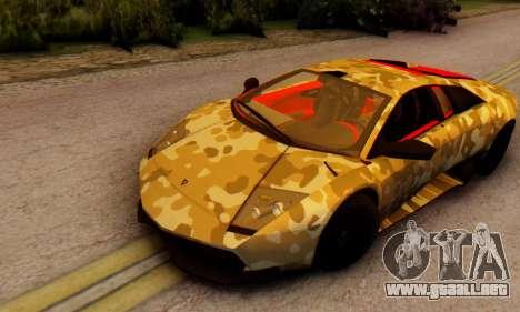 Lamborghini Murcielago Camo SV para GTA San Andreas left