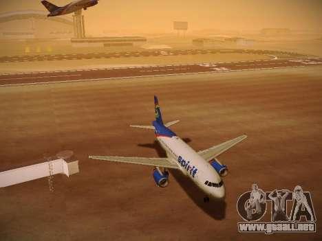Airbus A319-132 Spirit Airlines para vista inferior GTA San Andreas