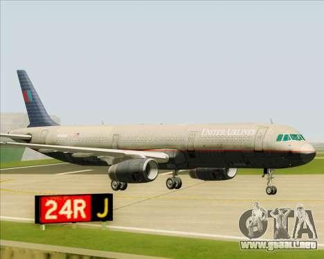 Airbus A321-200 United Airlines para la vista superior GTA San Andreas