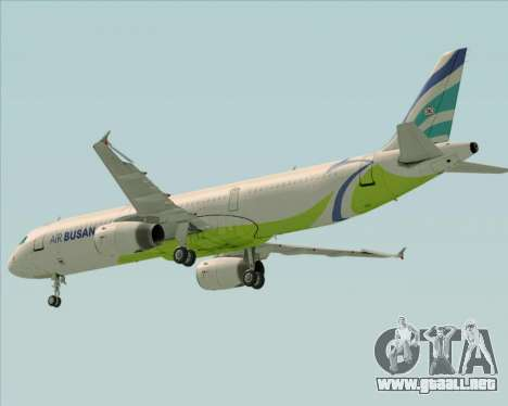 Airbus A321-200 Air Busan para la vista superior GTA San Andreas