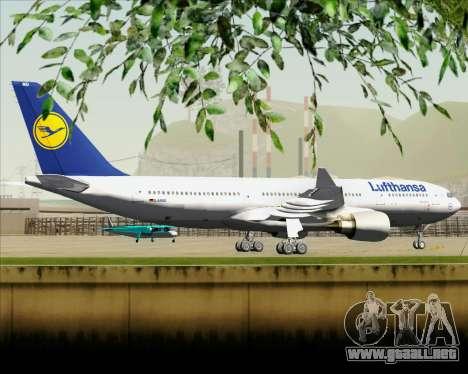 Airbus A330-200 Lufthansa para GTA San Andreas vista hacia atrás