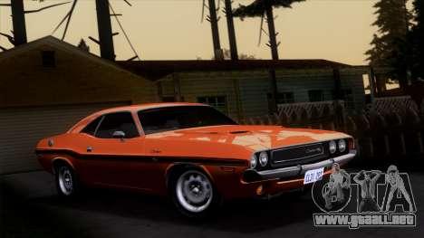 Dodge Challenger 426 Hemi (JS23) 1970 (ImVehFt) para vista lateral GTA San Andreas