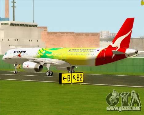 Airbus A321-200 Qantas (Socceroos Livery) para GTA San Andreas vista hacia atrás