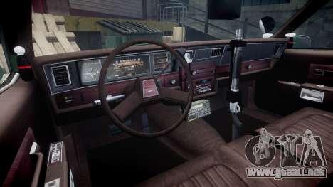 Chevrolet Caprice 1986 Brougham Police [ELS] para GTA 4 vista hacia atrás
