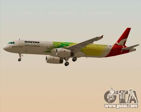 Airbus A321-200 Qantas (Socceroos Livery) para visión interna GTA San Andreas