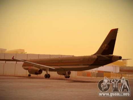 Airbus A321-232 Royal Jordanian Airlines para GTA San Andreas vista posterior izquierda