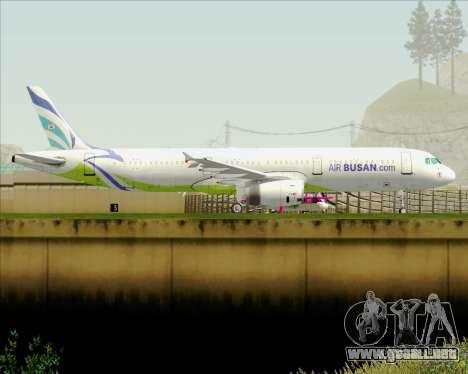 Airbus A321-200 Air Busan para GTA San Andreas vista posterior izquierda