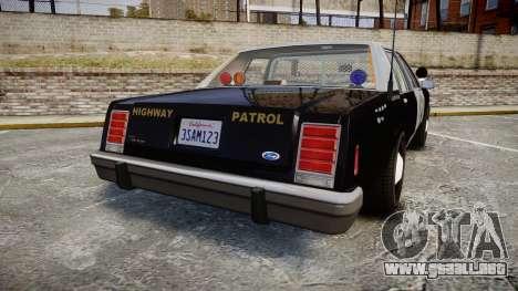 Ford LTD Crown Victoria 1987 Police CHP2 [ELS] para GTA 4 Vista posterior izquierda