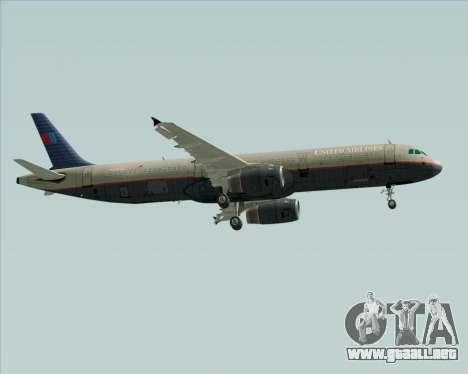 Airbus A321-200 United Airlines para GTA San Andreas vista posterior izquierda