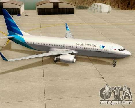 Boeing 737-800 Garuda Indonesia para las ruedas de GTA San Andreas