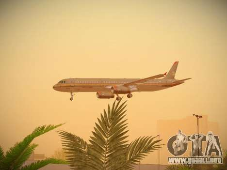 Airbus A321-232 Royal Jordanian Airlines para la vista superior GTA San Andreas