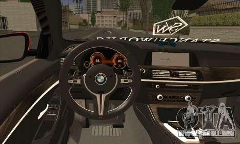 BMW 535i F10 Stance Works para GTA San Andreas vista posterior izquierda